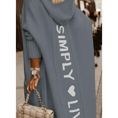 Print Heart Letter Hooded Casual Cardigan