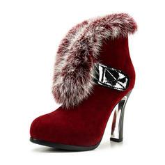 Femmes Suède Talon stiletto Bout fermé Bottes Bottines avec Fausse Fourrure chaussures