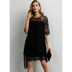 Lace/Solid 1/2 Sleeves Shift Above Knee/Asymmetrical Little Black/Party/Elegant Dresses