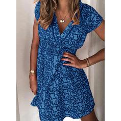 Print Short Sleeves Sheath Above Knee Casual Dresses
