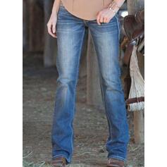 Shirred Plus Size Long Elegant Plain Denim & Jeans