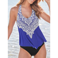 Print Round Neck Classic Attractive Tankinis Swimsuits