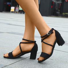 Vrouwen Suede Chunky Heel Sandalen Peep Toe met Gesp schoenen