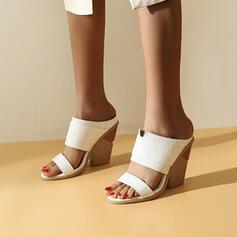 Femmes Similicuir Talon compensé Sandales Compensée À bout ouvert Chaussons chaussures