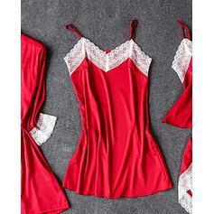 Correa Manga Larga Color sólido Estilo clásico Conjuntos de pijamas