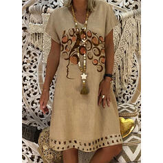 Print Short Sleeves Shift Knee Length Casual Dresses