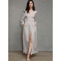 Solid 1/2 Sleeves A-line Skater Casual/Vacation Maxi Dresses