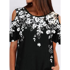 Print Floral Cold Shoulder 1/2 Sleeves Casual Blouses
