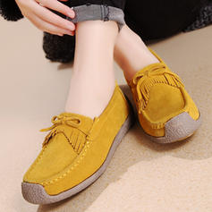 Femmes Suède Talon plat Chaussures plates Bout fermé avec Tassel chaussures