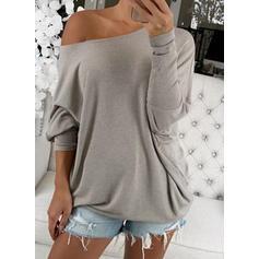 Solid Round Neck Long Sleeves Batwing Sleeves Sweatshirt