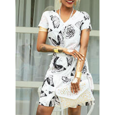 Floral/Animal Print Short Sleeves Sheath Above Knee Casual Dresses