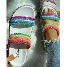 Women's PVC Flat Heel Sandals Peep Toe Slippers With Rhinestone shoes