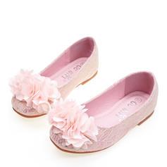 Girl's Silk Like Satin Flat Heel Round Toe Closed Toe Flats Flower Girl Shoes With Satin Flower