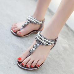 Women's Patent Leather Flat Heel Sandals With Rhinestone Imitation Pearl shoes