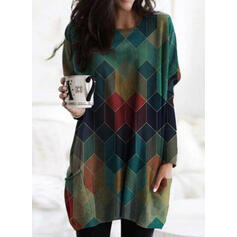 Geometric Print Round Neck Long Sleeves Sweatshirt