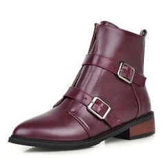 Femmes PU Talon bottier Bout fermé Bottes Bottines avec Boucle Zip chaussures