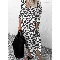Print 3/4 Sleeves Shift Casual/Vacation Maxi Dresses