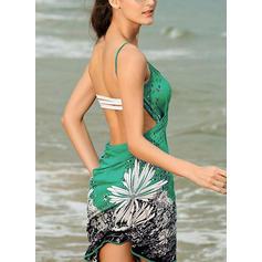 Kwiatowy string W prążki Elegancki Okrycia Stroje kąpielowe