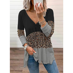 Bloque de color Leopardo Cuello en V Manga Larga Con Botones Casual Blusas