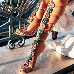 Women's PVC Stiletto Heel Sandals Pumps Peep Toe Slingbacks With Rhinestone shoes