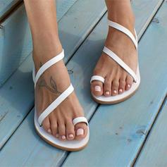 Femmes Vrai cuir Talon plat Sandales Chaussures plates avec Boucle chaussures