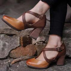 Donna Similpelle PU Tacco spesso Stiletto Punta chiusa con Fibbia scarpe