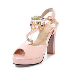 Women's PVC Chunky Heel Sandals Pumps Platform Peep Toe Slingbacks With Chain Tassel shoes