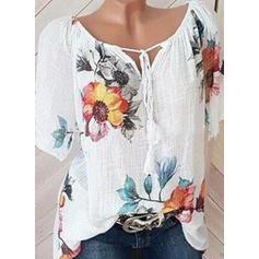 Floral V-Neck Short Sleeves Casual Elegant Blouses