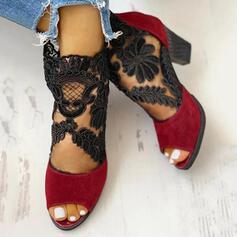 Vrouwen Suede Mesh Chunky Heel Enkel Laarzen met Rits schoenen