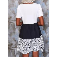 Tisk/Color Block Krátké rukávy Šaty Shift Nad kolena Neformální Šaty