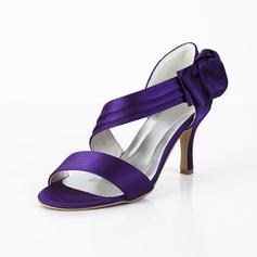 Frauen Satin Spule Absatz Peep Toe Sandalen mit Des Bowknot Klettverschluss