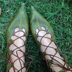 Femmes Similicuir Talon plat Chaussures plates avec Cravate ruban chaussures