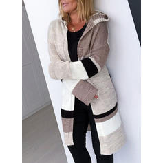 Color Block Hooded Cardigan