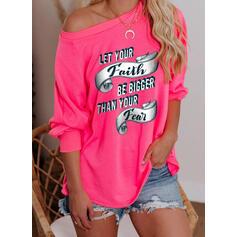Print One Shoulder Lange Mouwen Sweatshirts