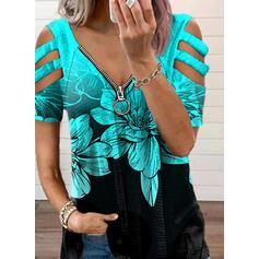 Print Floral Cold Shoulder Short Sleeves Cold Shoulder Sleeve Casual Blouses