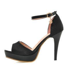Women's Leatherette Stiletto Heel Sandals Pumps Platform Peep Toe With Buckle shoes