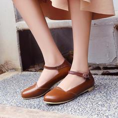 Femmes PVC Talon plat Chaussures plates Bout fermé avec Dentelle chaussures