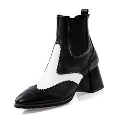 Vrouwen Kunstleer Chunky Heel Pumps Laarzen Enkel Laarzen met Elastiek schoenen