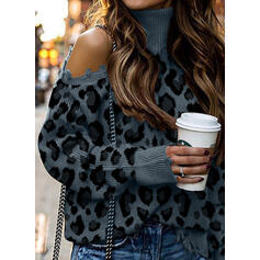 Leopard Turtleneck Cold Shoulder Casual Sweaters
