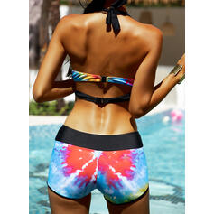High Waist Print Splice color Strap V-Neck Boho Bikinis Swimsuits