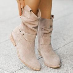 Femmes Suède Talon bottier Bottes avec Boucle Zip Couleur unie chaussures