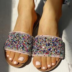Naisten PVC Matalakorkoiset Heel Sandaalit Peep toe Tossut jossa Tekojalokivi kengät