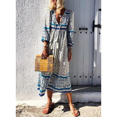 Print Long Sleeves A-line Midi Casual/Boho/Vacation Dresses