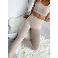 Strap U-Neck Sleeveless Solid Color Sports Leggings Sports Bras Yoga Sets