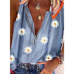 Virágos Minta V-nyak Αμάνικο Μπλουζάκια