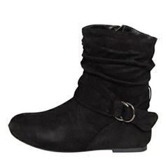 Women's PU Flat Heel Flats Closed Toe Boots With Buckle shoes