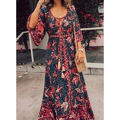 Print/Floral 3/4 Sleeves A-line Casual/Vacation Maxi Dresses