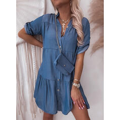 Solid 1/2 Sleeves Shift Above Knee Casual Shirt Dresses