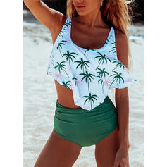 High Waist Print Strap U-Neck Fresh Tankinis Swimsuits