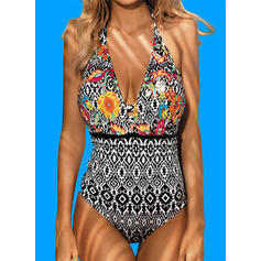Floral Print Halter Sexy Casual One-piece Swimsuits